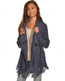 Derek Heart Girls' Blue Marled Cable and Fringe Sweater