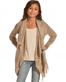 Derek Heart Girls' Beige Marled Cable and Fringe Sweater