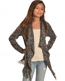Derek Heart Girls' Black Marled Cable and Fringe Sweater