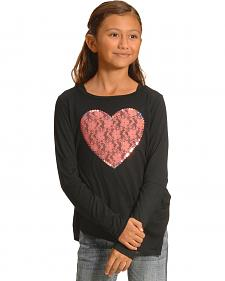 Derek Heart Girls' Black Sequin Heart Long Sleeve Top