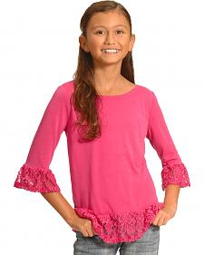 Derek Heart Girls' Pink Ruffle Top