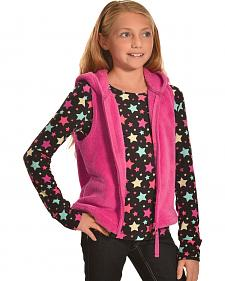 Derek Heart Girls' Pink Hooded Vest and Long Sleeve Star Tee Combo