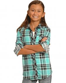 Derek Heart Girls' Blue Knit Plaid Western Shirt