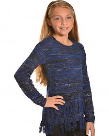 Derek Heart Girls Marled Blue Lurex Fringe Tunic