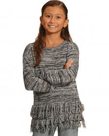 Derek Heart Girls' Grey marled Fringe Tunic