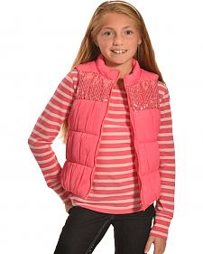 Derek Heart Girls' Pink Puffy Vest Long Sleeve Tee Combo
