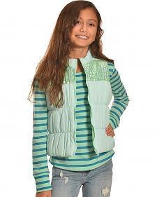 Derek Heart Girls' Aqua Puffy Vest Long Sleeve Tee Combo