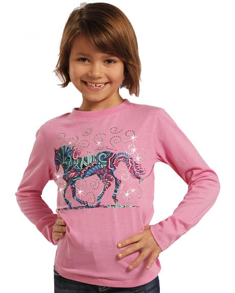 Rock & Roll Cowgirl Girls' Horse and Flowers Long Sleeve Tee