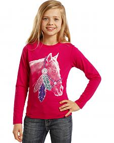 Rock & Roll Cowgirl Girls' White Horse Tee