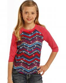 Rock & Roll Cowgirl Girls' Aztec Baseball Tee