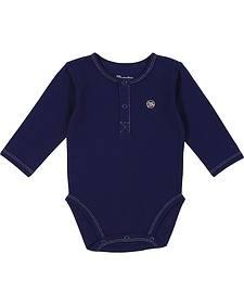 Wrangler Infant Navy Snap Placket Long Sleeve Bodysuit
