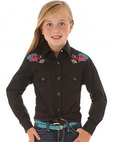 Wrangler Rock 47 Girls' Long Sleeve Floral Embroidery Black Shirt