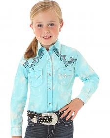 Wrangler Rock 47 Girls' Long Sleeve Sky Blue Embroidered Shirt