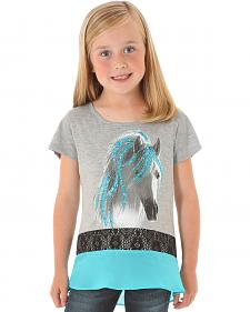 Wrangler Rock 47 Girls' Glitter Horse Short Sleeve Shirt