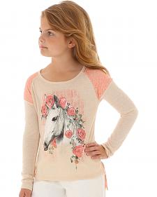 Wrangler Girls' Floral & Lace Horse Long Sleeve Shirt