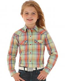 Wrangler Rock 47 Girls' Long Sleeve Multi-Color Plaid Shirt