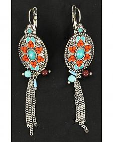 Blazin Roxx Turquoise and Red Stone Oval Chain Earrings
