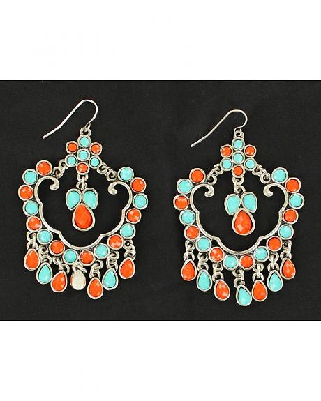 Blazin Roxx Turquoise and Red Beaded Chandelier Earrings