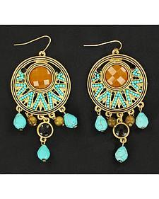 Blazin Roxx Gold and Turquoise Chandelier Earrings