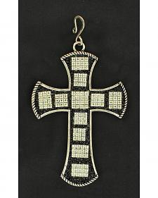 Blazin Roxx Large Black Cross Rhinestone Pendant