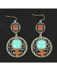 Blazin Roxx Turquoise and Red Stone Drop Earrings