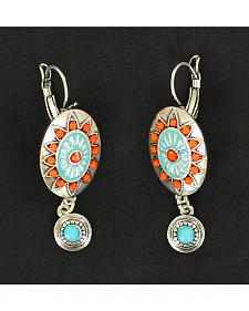 Blazin Roxx Red and Turquoise Stone Oval Earrings