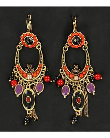 Blazin Roxx Black and Red Chandelier Chain Earrings