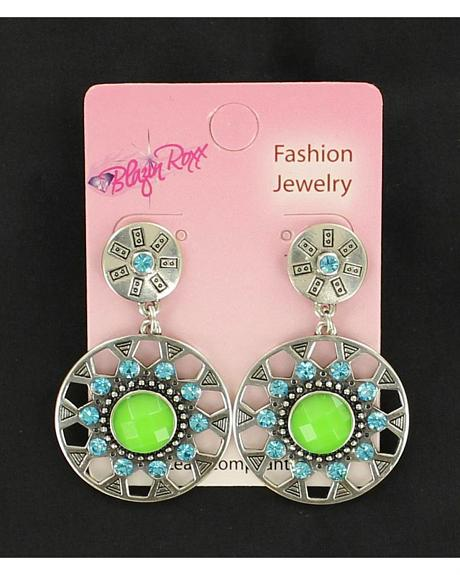 Blazin Roxx Blue and Green Drop Earrings