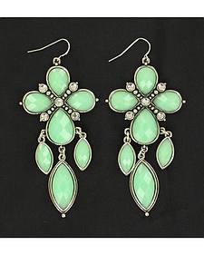 Blazin Roxx Mint Cross Chandelier Earrings