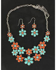 Blazin Roxx Red and Green Daisy Necklace & Earrings Set