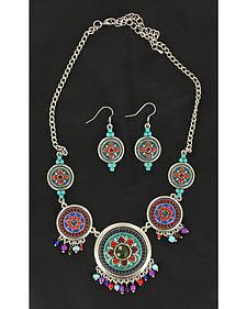 Blazin Roxx Multi Color Stone Concho Necklace & Earrings Set