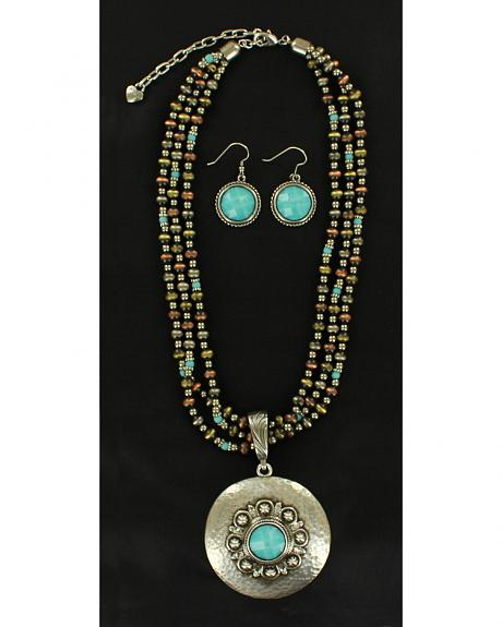Blazin Roxx Hammered Medallion Turquoise Necklace & Earrings Set