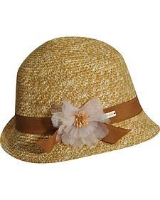 Betmar Women's Inge Tan and White Cloche Hat
