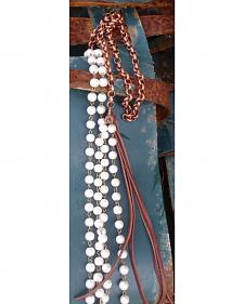 Jewelry Junkie Pearl Leather Tassel Necklace