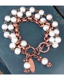 Jewelry Junkie Pearl Copper Dangle Bracelet