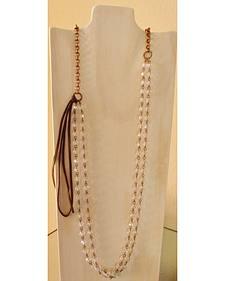 Jewelry Junkie Crystal Leather Tassel Necklace