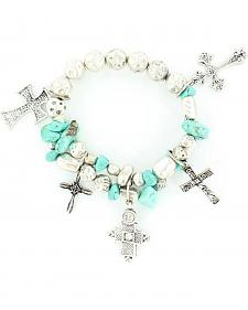 Blazin Roxx Multi Cross Charm Beaded Bracelet