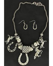 Blazin Roxx Western Charm Necklace & Earrings Set