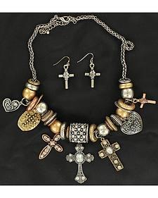 Blazin Roxx Multi Charm Beaded Necklace & Earrings Set