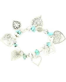 Blazin Roxx Beaded Heart Charm Bracelet