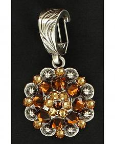 Brown Rhinestone Embellished Concho Necklace Pendant