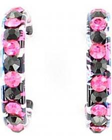 Blazin Roxx Pink & Black Rhinestone Embellished Striped Earrings