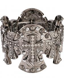 Blazin Roxx Cross Concho Stretch Bracelet