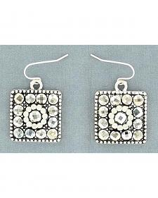 Blazin Roxx Square Concho Hematitie Earrings