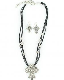 Blazin Roxx Corded Cross Charm Necklace & Earrings Set