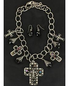 Blazin Roxx Multi Cross Charm Necklace & Earrings Set