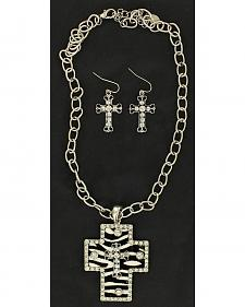 Blazin Roxx Zebra Cross Charm Necklace & Earrings Set