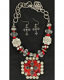 Blazin Roxx Maltese Cross Pendant Necklace & Earrings Set