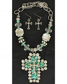 Blazin Roxx Faux Turquoise Cross Pendant Necklace & Earrings Set