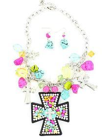 Blazin Roxx Colorful Stone Cross Pendant Necklace & Earrings Set